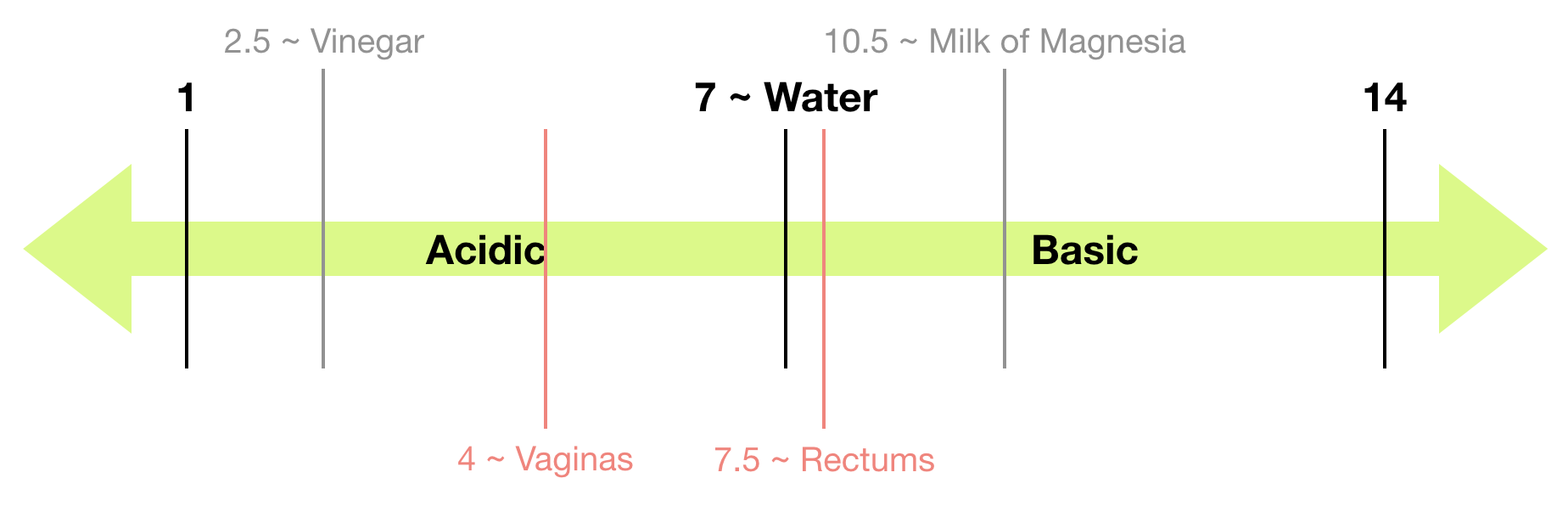 A pH scale detailing vinegar, vaginas, water, rectums, and milk of magnesia for comparison.